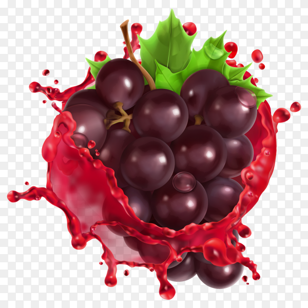 3D Red wine and grapes with Fresh juice fruit premium vector PNG