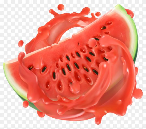 3D fresh watermelon with fresh splash juice on transparent background PNG