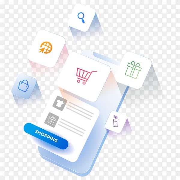 3d mobile online shopping concept. digital marketing on transparent PNG