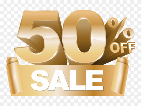 3d shiny gold discount 50 percent off on transparent background PNG