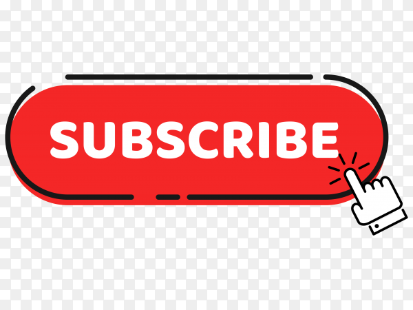 A hand mouse cursor clicks on the subscribe button on transparent  PNG