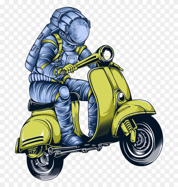 Astronaut riding scooter space illustration premium vector PNG