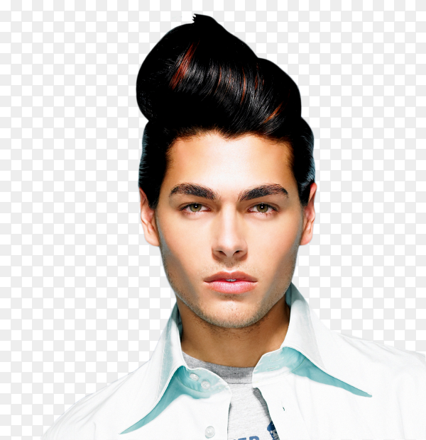 Beautiful men hairstyle on transparent background PNG