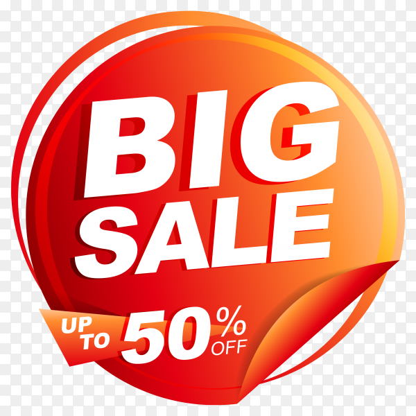 Big sale banner with discount tag price on transparent background PNG