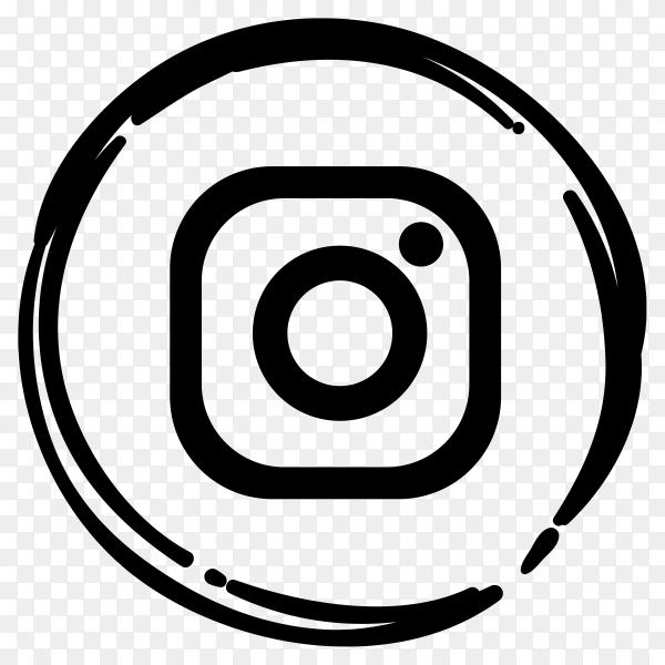 Black Instagram logo in flat design premium vector PNG