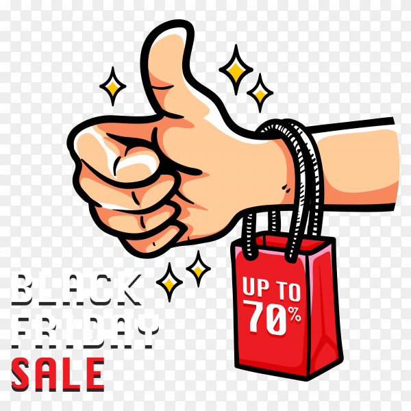 Black friday sale banner with hand thumbs up on transparent background PNG