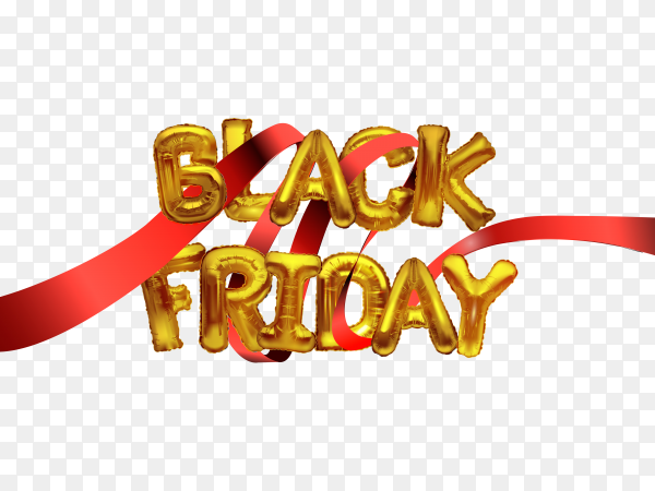 Black friday sale banner with red Ribbon on transparent background PNG