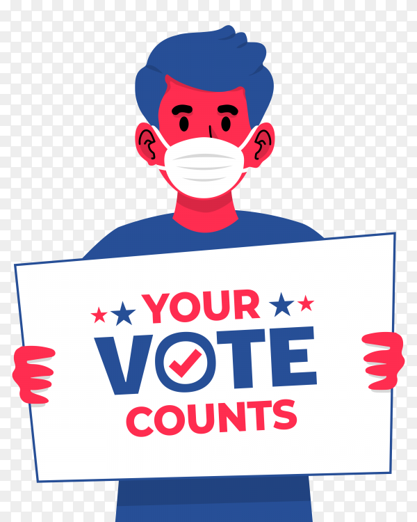 Boy with face mask holding a sign to encourage voting in us presidential election 2020 on transparent background PNG
