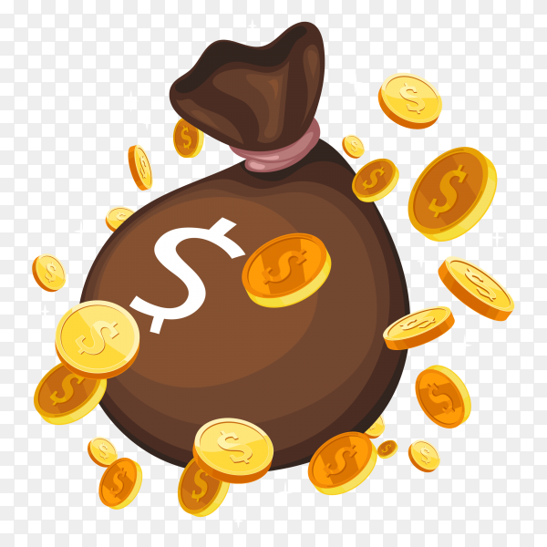 Brown bag with money premium vector PNG