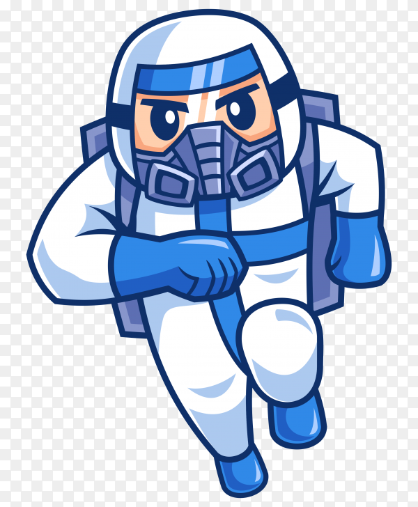 Cartoon character doctor wearing protective suiteon transparent background PNG
