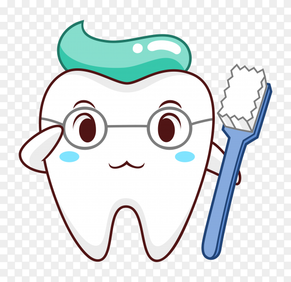 Cartoon illustration of healthy tooth on transparent background PNG