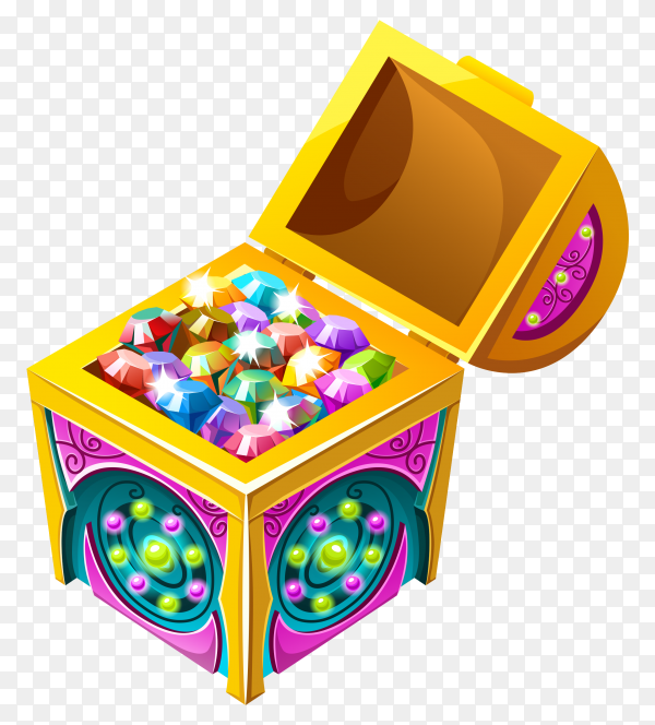 Cartoon isometric chest with treasures on transparent background PNG