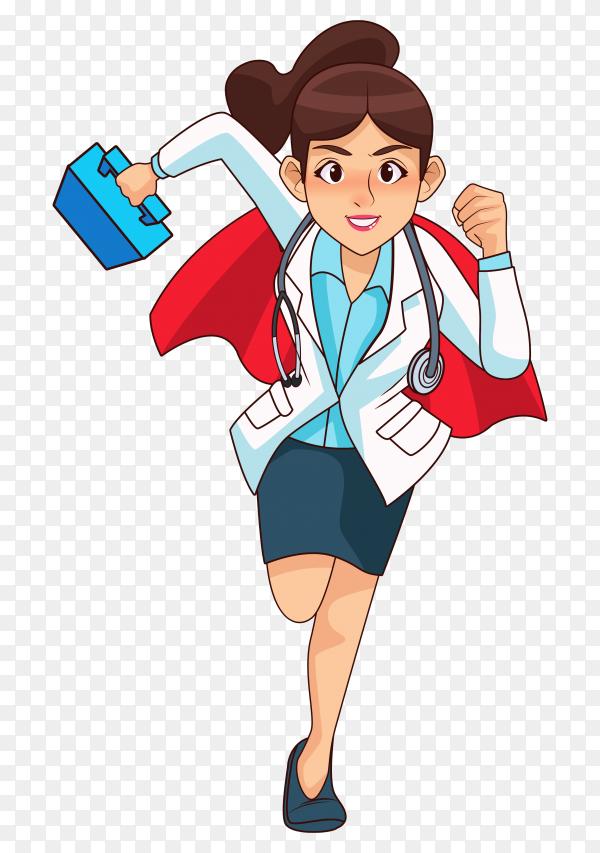 Cartoon super doctor running premium vector PNG