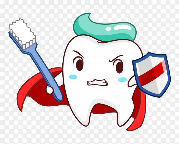 Cartoon superhero tooth holding shield toothbrush on transparent background PNG