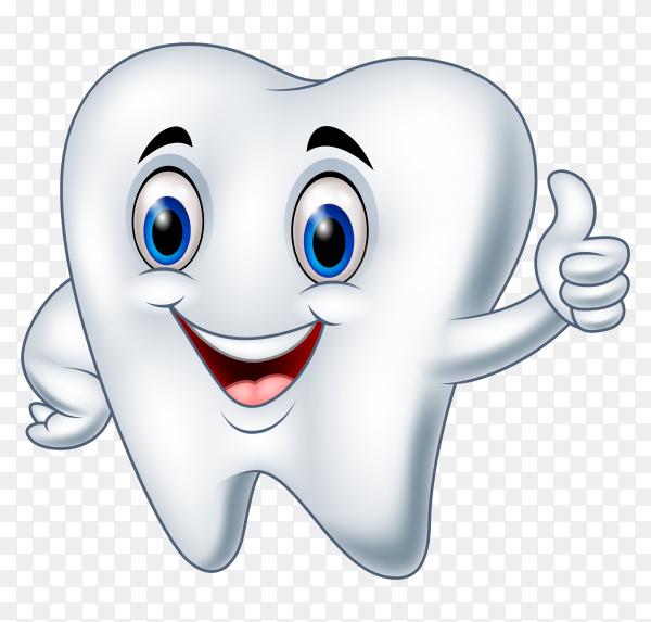 Cartoon tooth giving thumb up on transparent background PNG
