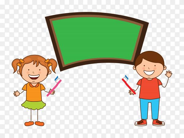 Children dental care on transparent background PNG