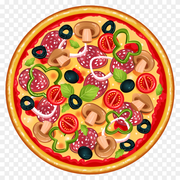 Colorful Round Tasty Pizza on transparent background PNG