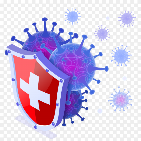 Covid19 coronavirus protection shield with virus cells on transparent background PNG