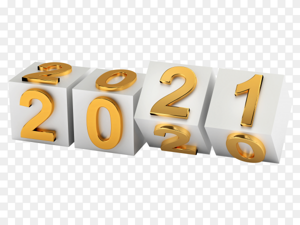 Cubes with number 2021 replace 2020 on transparent background PNG