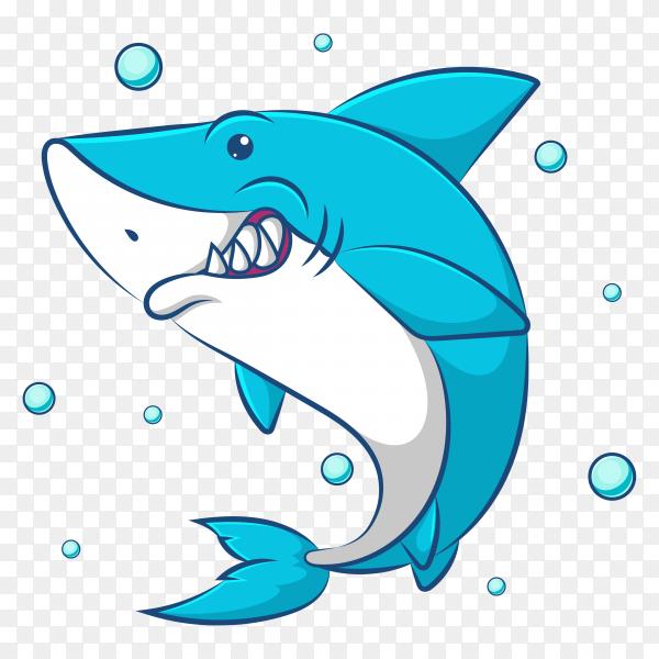 Cute cartoon blue shark illustration on transparent background PNG