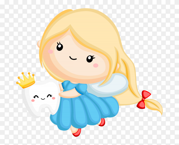 Cute girl holding tooth on transparent background PNG