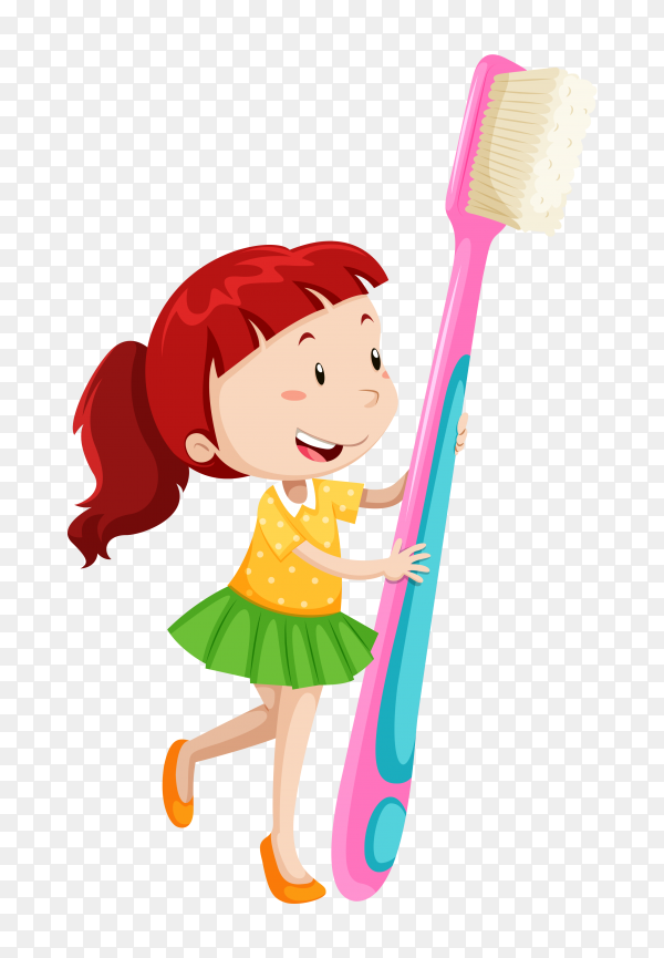 Cute girl holding toothbrush on transparent background PNG
