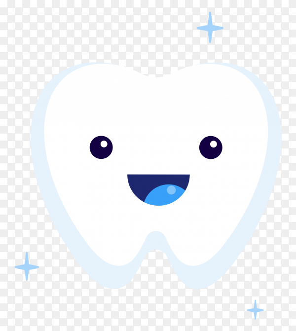 Cute happy smiling tooth icon on transparent background PNG