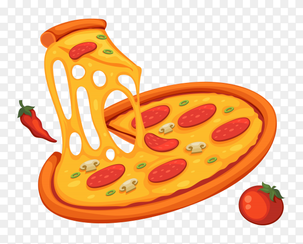 Delicious pizza with cheese on transparent background PNG