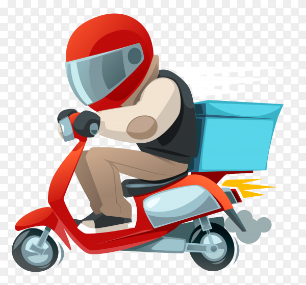 Delivery man with classic scooter on transparent PNG
