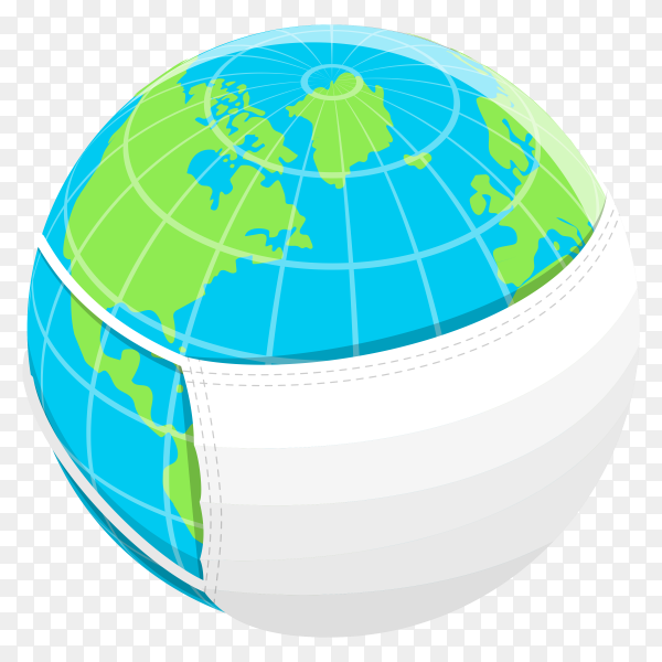 Earth globe with protective mask on transparent background PNG