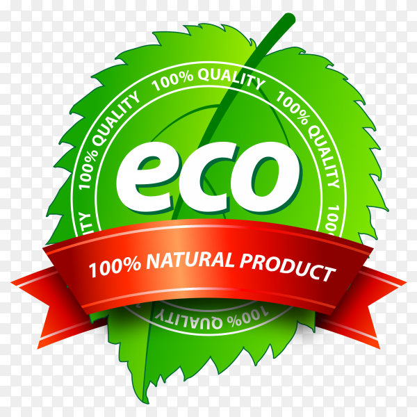 Eco banner design on transparent background PNG