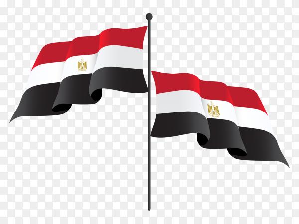 Egypt waving flag on flagpole on transparent background PNG