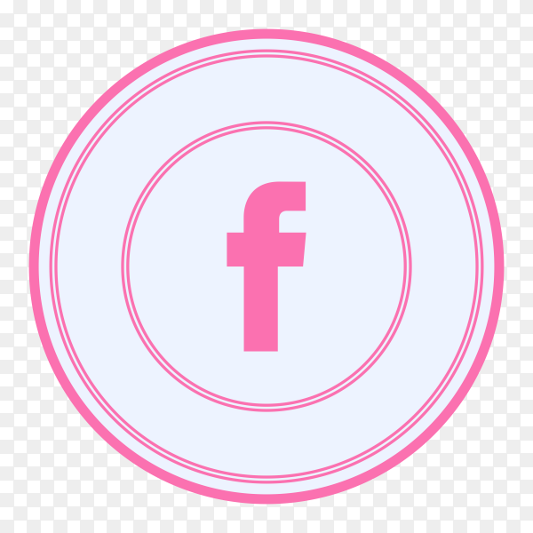 Facebook icon with pink color on transparent background PNG