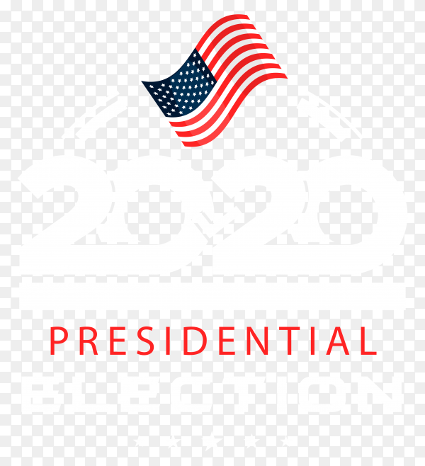 Flat 2020 us presidential election voting on transparent background PNG