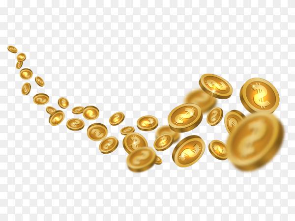 Flying golden coins on transparent background PNG