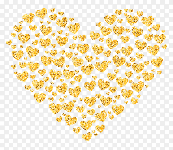 Glitter golden heart on transparent background PNG