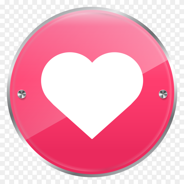 Glossy circle like love icon on transparent background PNG