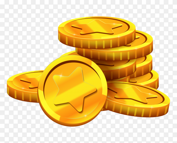 Gold coins isolated premium vector PNG