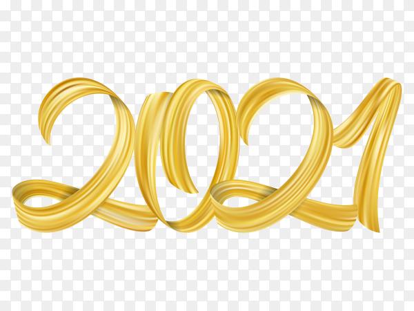 Golden brushstroke paint lettering calligraphy of 2021 on transparent PNG