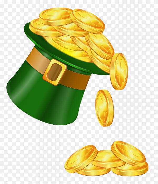 Golden coins in Saint patricks hat Illustration on transparent background PNG