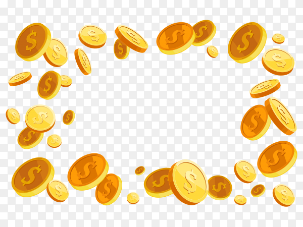 Golden coins isolated premium vector PNG