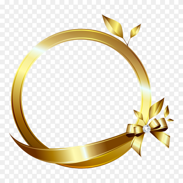 Golden frame banner with riboon and bow on transparent background PNG