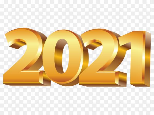 Golden new year 2021 premium vector PNG