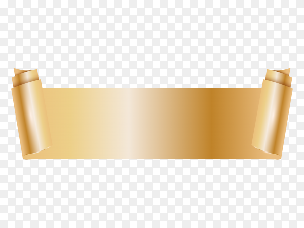 Golden ribbon banner isolated on transparent background PNG