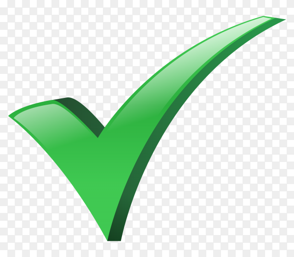 Green correct icon design on transparent PNG