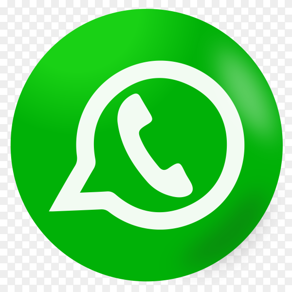 Green whatsapp icon on transparent background PNG