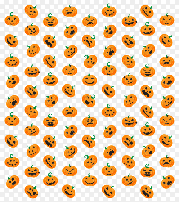Halloween pumpkins faces on transparent background PNG