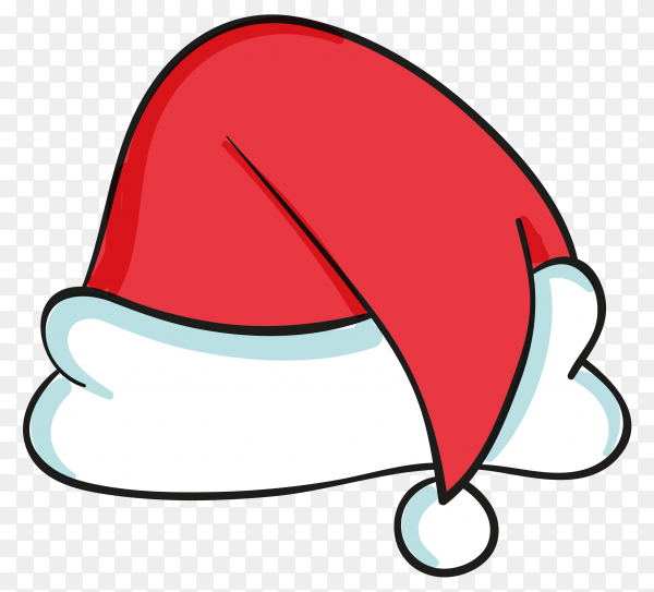 Hand drawign santa claus hat on transparent PNG