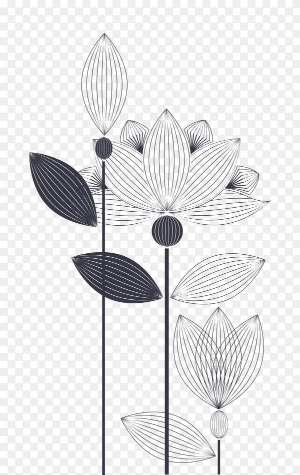 Hand drawn beautiful flowers premium vector PNG