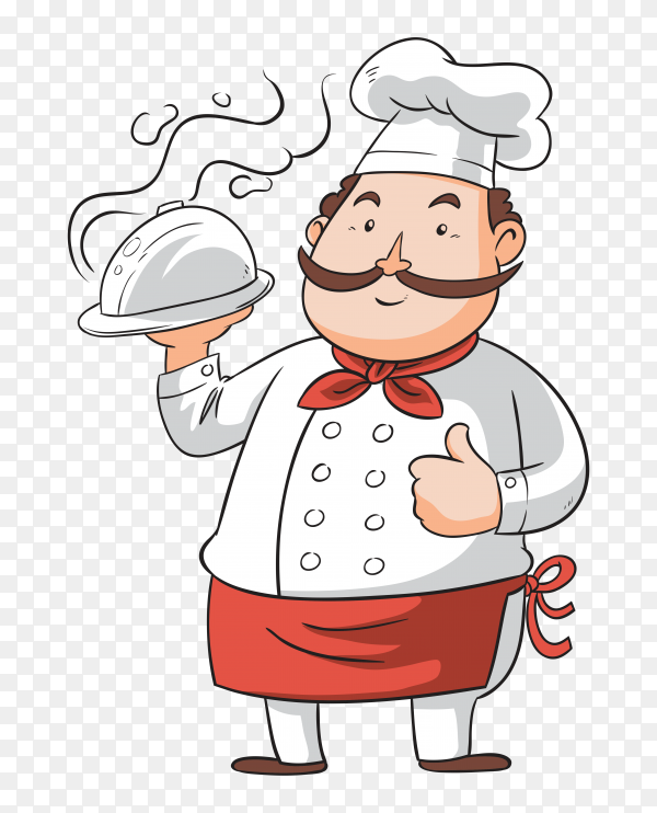 Hand drawn chef with tray on transparent background PNG